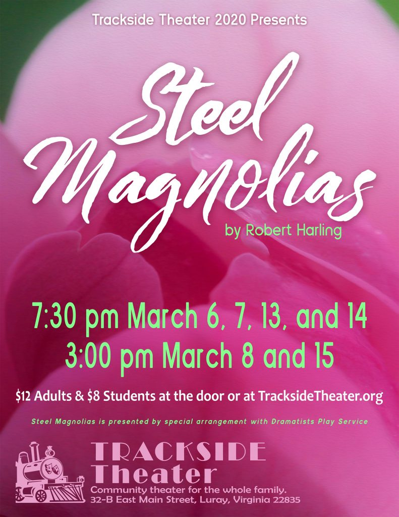 steel magnolias performance poster March 2020, trackside theater
